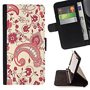 DEVIL CASE - FOR Apple Iphone 6 PLUS 5.5 - Pattern Floral Kidney Art Wallpaper Purple Red - Style PU Leather Case Wallet Flip Stand Flap Closure Cover
