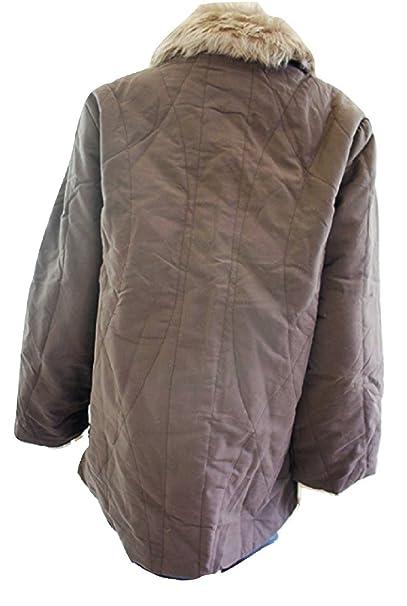 NEVILLE marrón oscuro mujer abrigo de invierno de pelo sintético - tamaño de la funda de