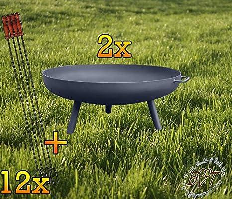 2 x Brasero con pies redondos, XXL aprox. 72 cm Con Barbacoa ...