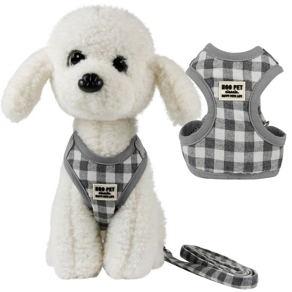 M Soft Mesh Nylon Vest Dog Harness Leash Set Leads Tartan Design Harness (M)