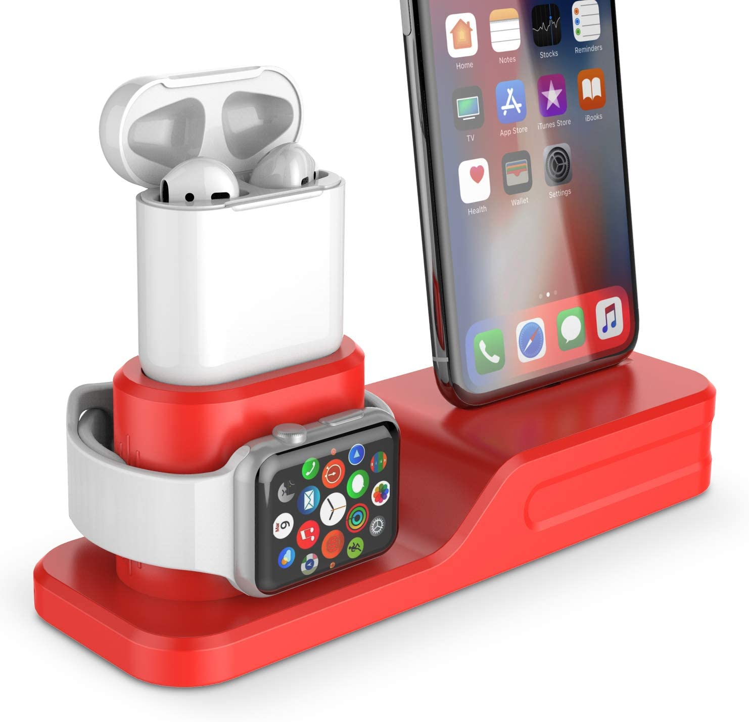 Coffea 3-in-1 Charging Station for Apple Watch, AirPods & iPhone (Red)