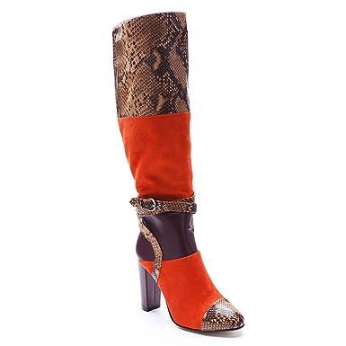 ¥*Shoes Botines Piel Patrón De Serpiente Cremallera Botas Señora Calzado Zapatos Altos: Amazon.es: Ropa y accesorios