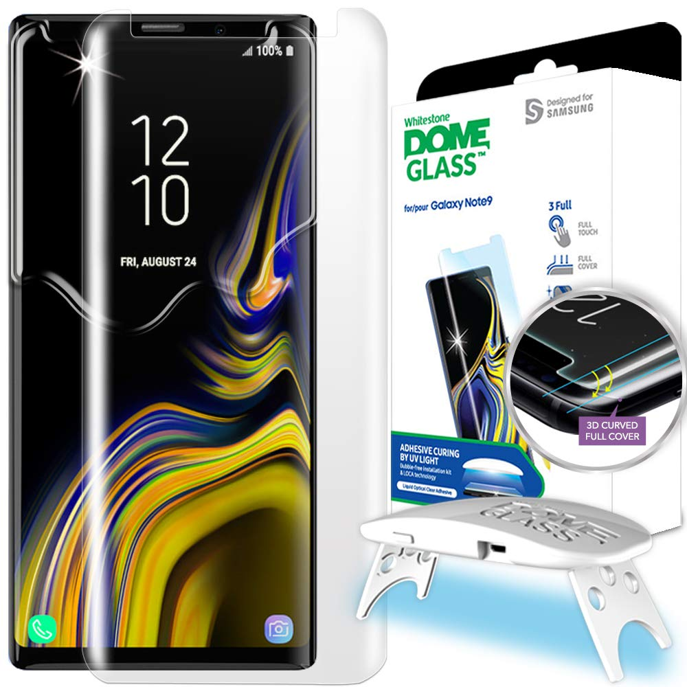 Galaxy Note 9 Screen Protector, [Dome Glass] Full 3D Curved Edge Tempered Glass Shield [Liquid Dispersion Tech] Easy Install Kit by Whitestone for Samsung Galaxy Note 9 (2018) - 1 Pack by Dome Glass