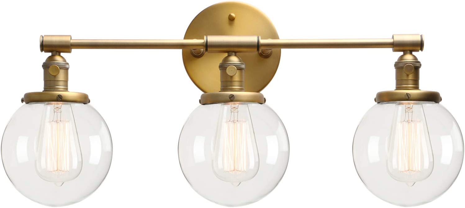 """Permo Vintage Industrial Antique Three-Light Wall Sconces with Mini 5.9"""" Round Clear Glass Globe Shade (Antique)"""