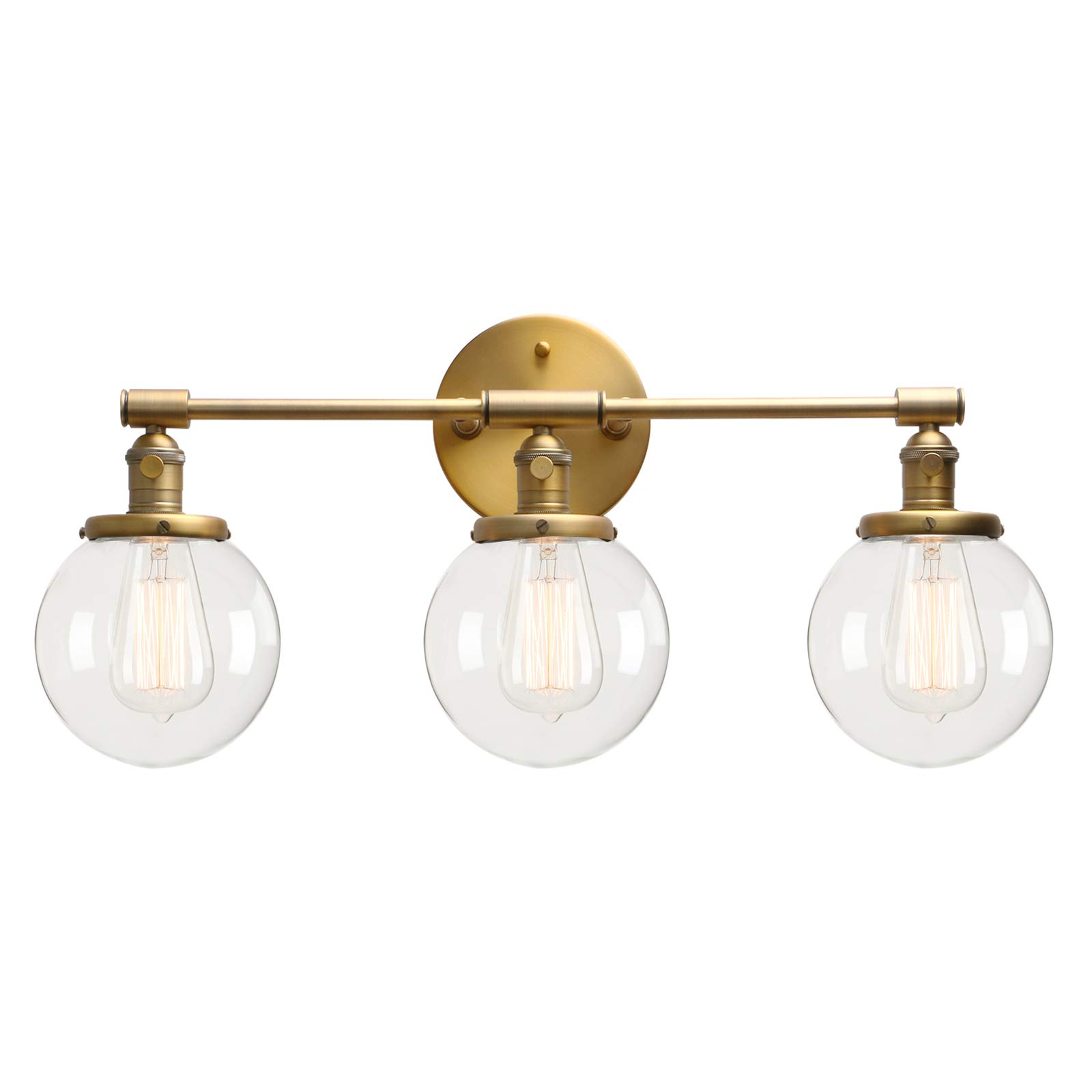 Permo Vintage Industrial Antique Three-Light Wall Sconces with Mini 5.9'' Round Clear Glass Globe Shade (Antique)