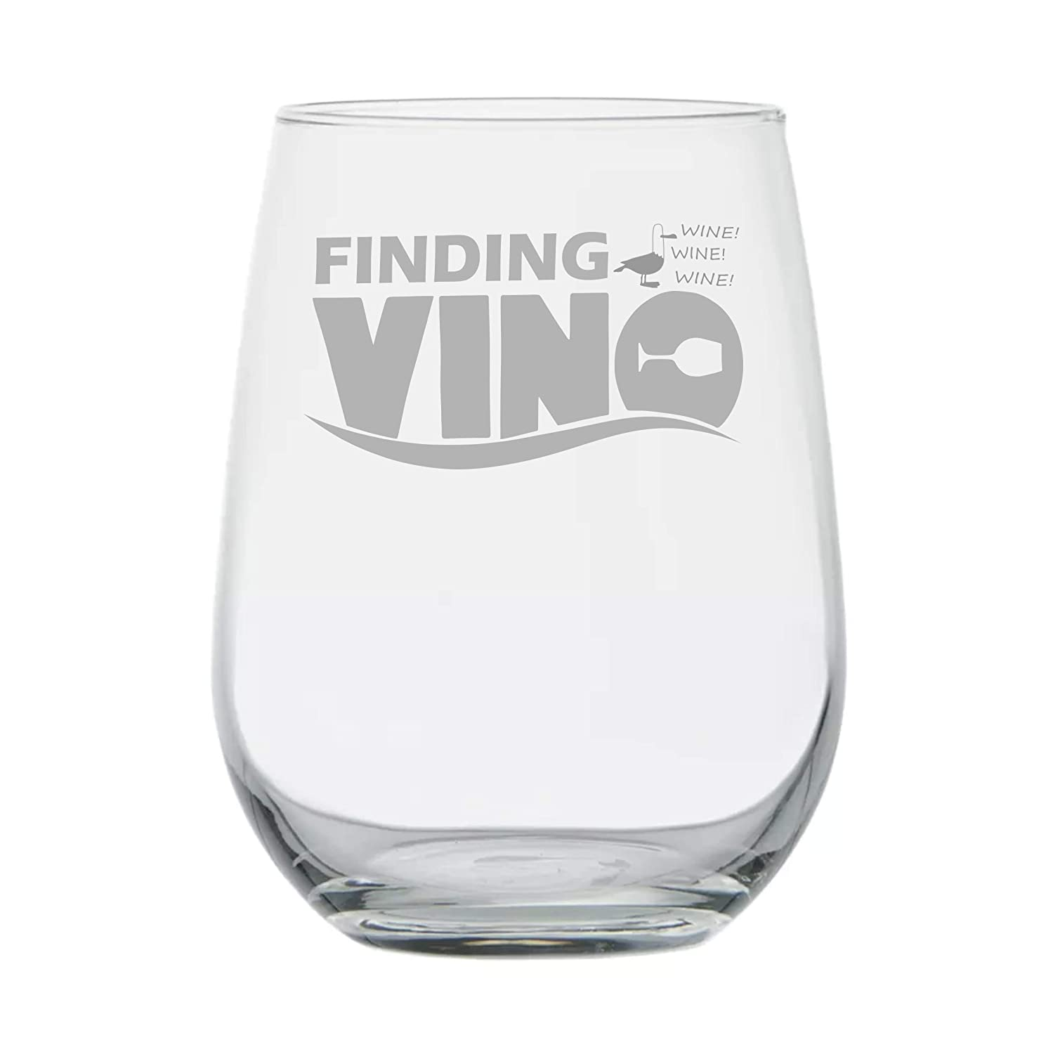 Finding Vino - 17 oz Stemless Glass - Disney Wine Glass - Gift for Wine Lovers - Disney Gifts - Birthday Gift - Gifts for Friend - Mermaid - Fishing Gifts - Disney Mom Gift