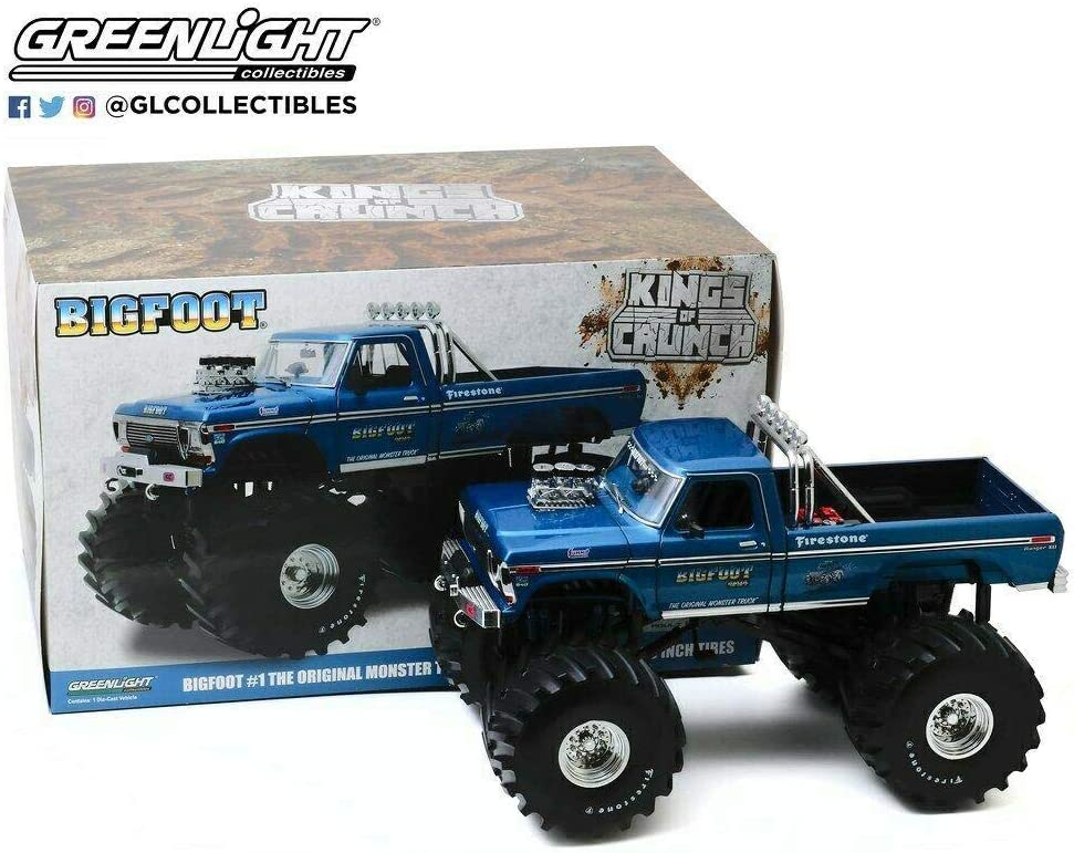 Kings of Crunch - Bigfoot #1-1974 Ford F-250 Diecast Monster Truck with 66-Inch Tires in 1:18 Scale