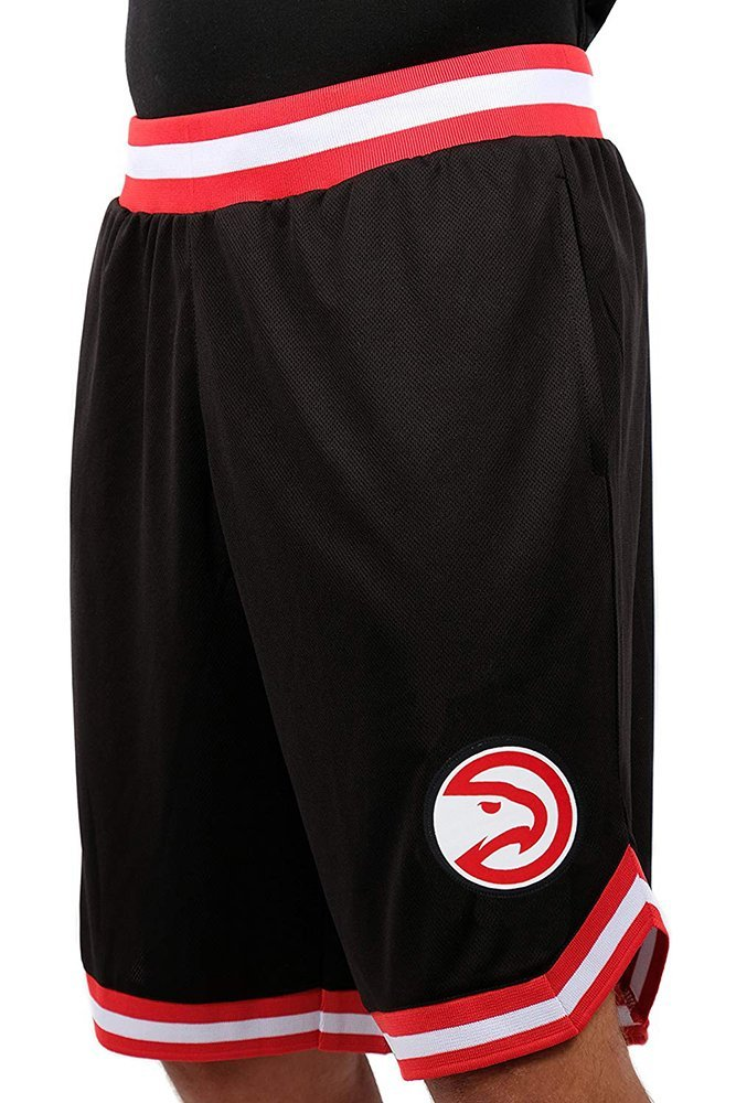 Ultra Game NBA Atlanta Hawks Men's Mesh Basketball Shorts Woven Active Basic, Small, Black