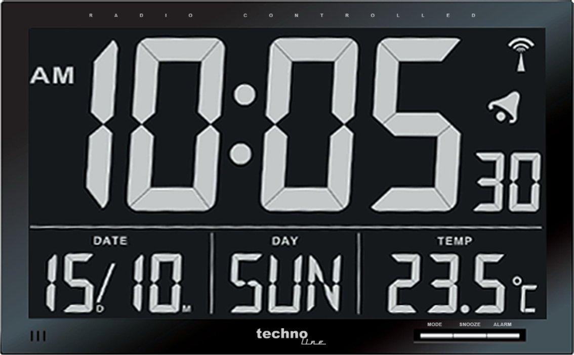 Pilot/ée Noir Technoline WS8007 Horloge Radio
