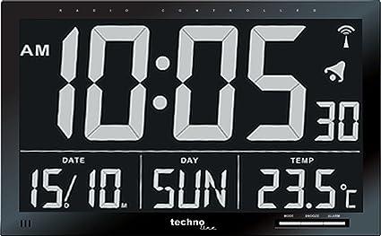 Technoline Ws 8007 - Reloj Digital Controlado Por Radio con Pantalla Lcd Grande