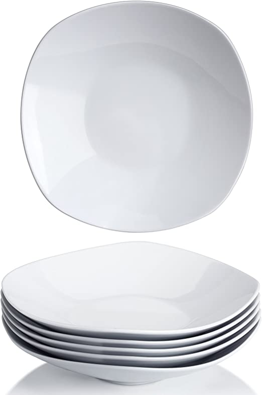 Set of 6 Wide and Shallow Y YHY 9 Inches Porcelain Salad Pasta Bowls White Square Bowl Set
