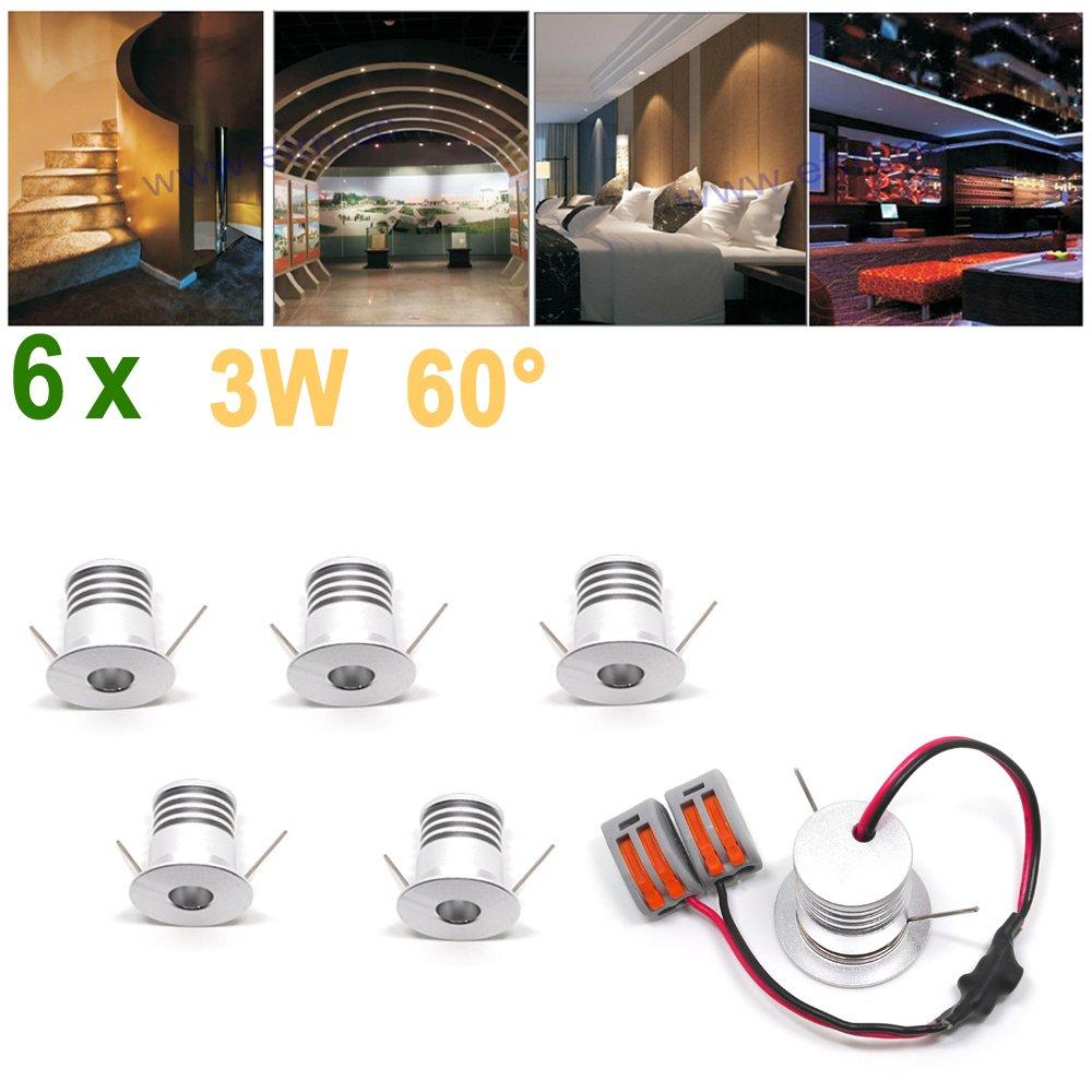 ETRN® 6x 3W 60 ° techo LED Focos DC9-28V Casa Patio de madera puntual luces Enviar mensaje para elegir el tono (6)