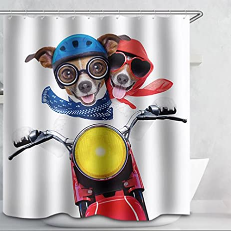 WAYLONGPLUS Dog Ride Motorcycle Shower Curtain Waterproof Pongee Decorative  Bath Curtain, Plastic Shower Hooks Include