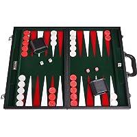 "21"" Leatherette Backgammon Set - Black Board, Green Inlaid Velvet Field"