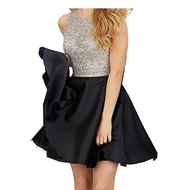 Chady Short Beading Open Back Homecoming Dresses Satin Sequined Prom Dresses Evening Gowns