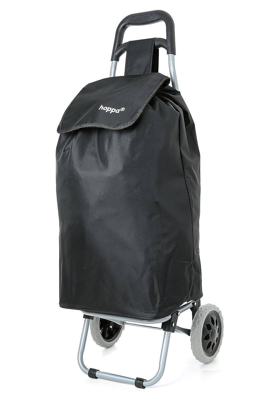 Hoppa Lightweight Wheeled Shopping Trolley, Hard Wearing Wheel Rolling Push  Trolly, Flat-Pack, Black/Navy 1 Year Guarantee!