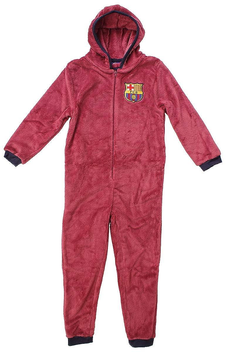 Barcelona FCB Boys Official Hooded Fleece Zipper Sleepsuit Romper Onesie Sizes from 3 to 12 Years