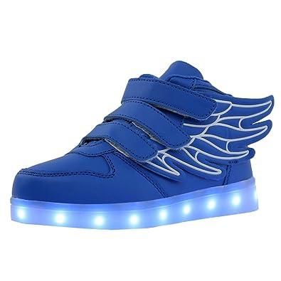 Fenteer Jungen Mädchen Wiederaufladbar Led Schuhe mit Flügeln Turnschuhe LED Sneaker Leuchtend Farbwechsel Sportschuhe - Schwarz Grün, 26