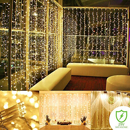 String lights Curtain, 300 LED Icicle Wall Lights, Fairy Indoor Starry Lights 8 Mode For Wedding, Christmas, Holiday, Home decoration, UL Certification(Warm - Indoor Icicle Lights