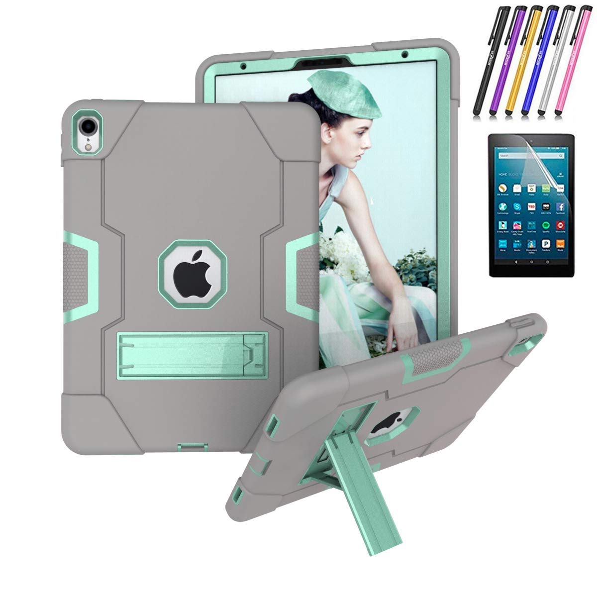 "iPad Pro 11"" Three Layer Hybrid Rugged Heavy Duty Shockproof Anti-Slip Case Full Body Protection Cover for Apple iPad Pro 11"" 2018 (Gray/Mint Green)"