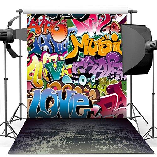 Dudaacvt 5x7 ft Graffiti Style Backdrop Vintage Cement Floor Background Studio Props Q0120507