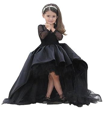 6b8c63678b6 KekeHouse® Noir asymétrique traîne Princesse Robe Longue de Cérémonie  Soirée Mariage Anniversaire Fête Fille Enfant  Amazon.fr  Vêtements et  accessoires