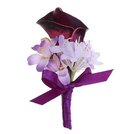 sharplace Calla ramillete flores novia Novio traje boutonniere ...