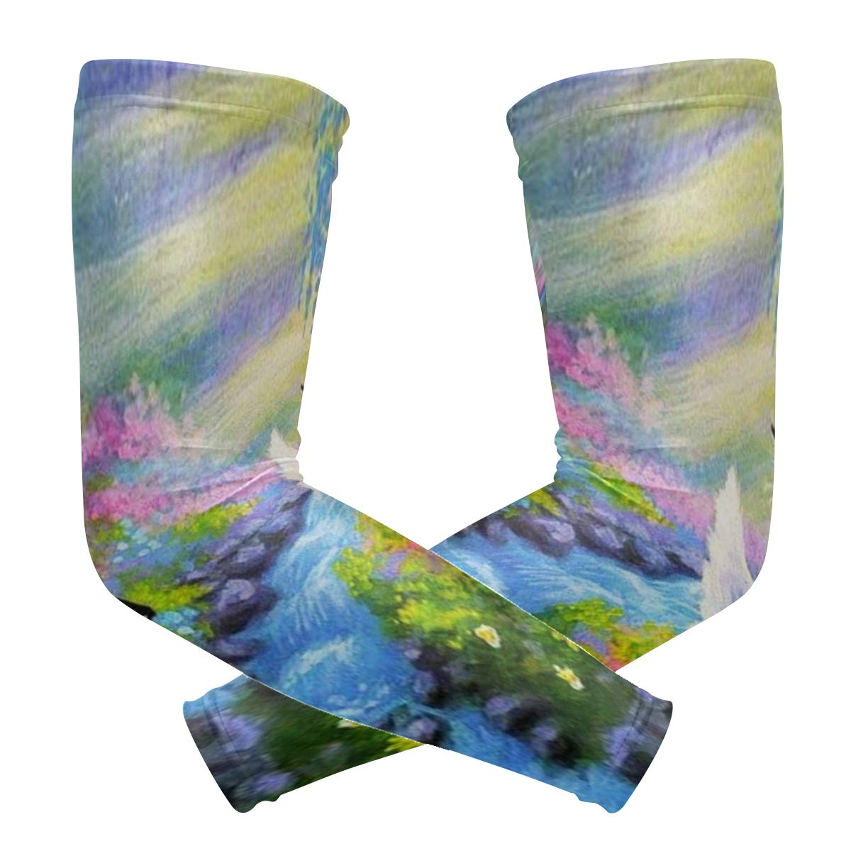 Arm Sleeves Cat Angel Kitty Butterfly Art Mens Sun UV Protection Sleeves Arm Warmers Cool Long Set Covers
