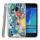 Kit Me Out CAN® Samsung Galaxy J1 (2016) [Shock Absorbing] [Thin Fit] TPU Gel Case Cover Skin Pouch - Multicoloured Circles With Flowers