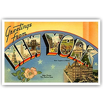 Amazon greetings from new york vintage reprint postcard set of greetings from new york vintage reprint postcard set of 20 identical postcards large letter us m4hsunfo