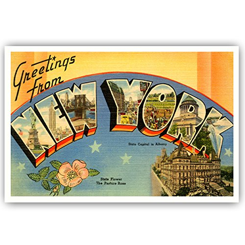 GREETINGS FROM NEW YORK vintage reprint postcard set of 20 identical postcards. Large letter US state name post card pack (ca. 1930