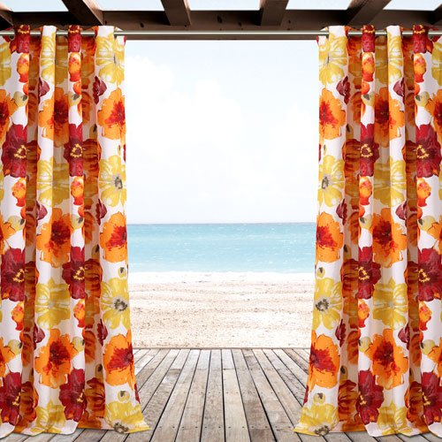 Lush Decor Leah Red and Orange 84 x 52 In. Outdoor Window Cu