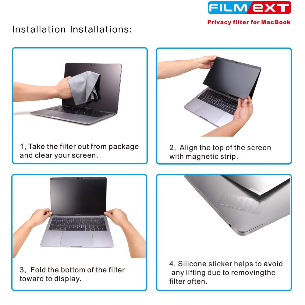 MacBook Pro 13.3 Privacy Screen Protector Filter【Magnetic Installation】【Webcam Cover】【 Anti-Glare Screen Protector 】【TPU Keyboard Cover】 for New 2018 MacBook Air 13 (A1932), MacBook Pro 13 (A1706/08) by FILMEXT (Image #6)