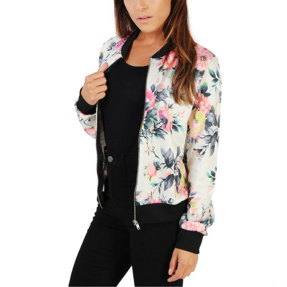Amo & Co Women's Casual Long Sleeve Floral Print Stand Collar Lightweight Zip Up Top Bomber Jackets With Pockets (M, White)
