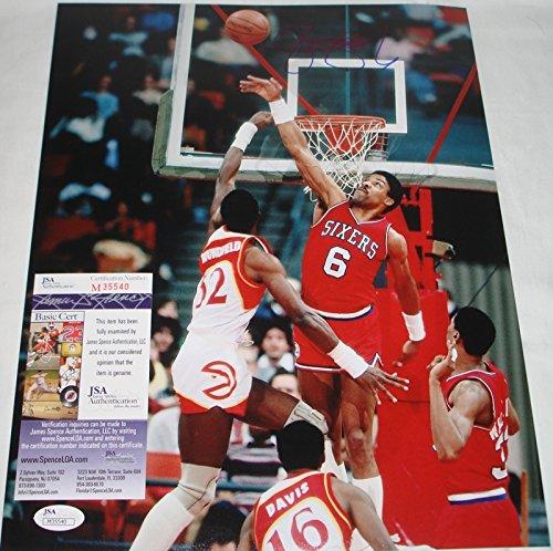 Erving Hand Signed - Julius Dr. J Erving Hand Signed / Autographed Philadelphia 76ers 11 x 14 Phot...