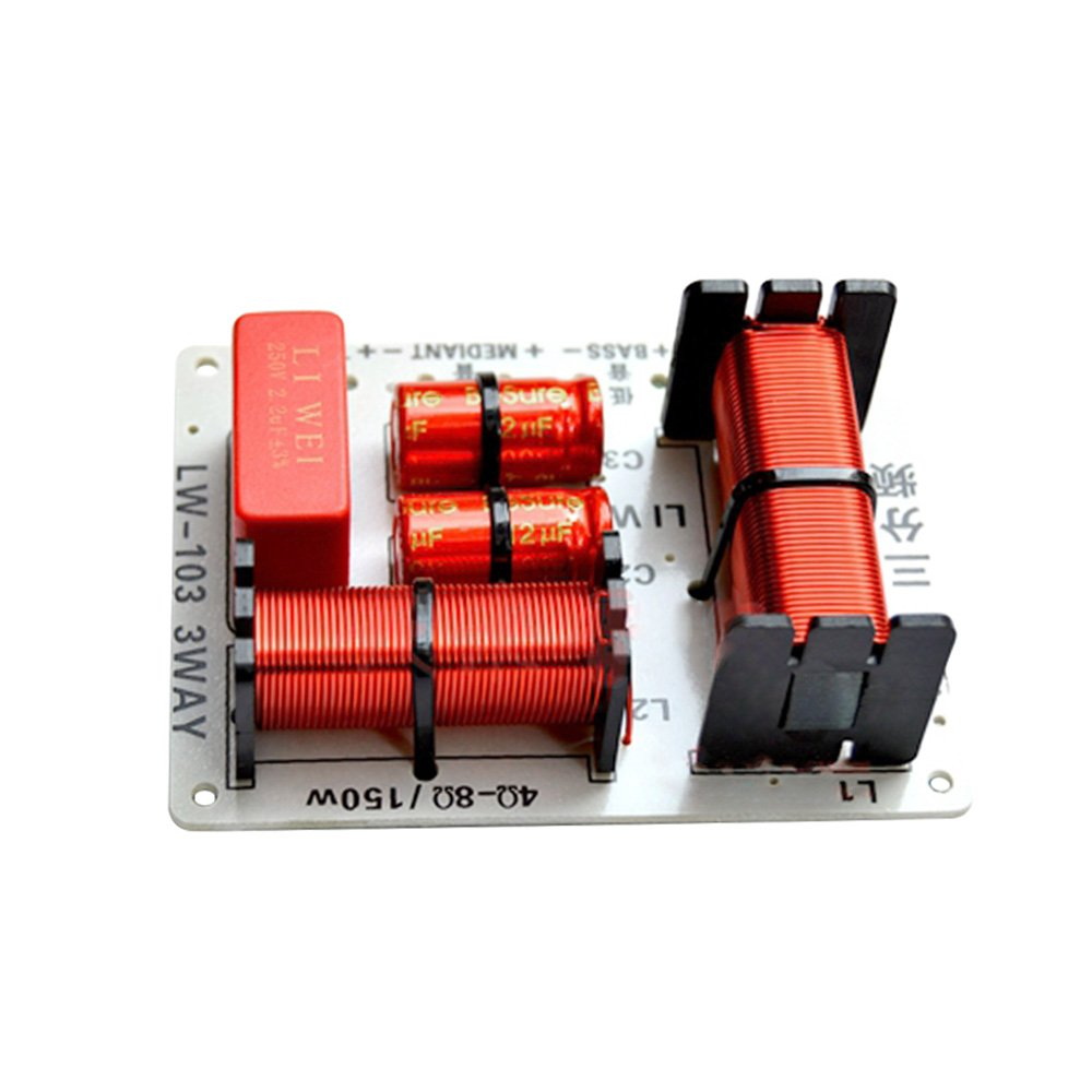 Aiyima 2PCS Speaker 3 Way Audio Frequency Divider Treble Midrange Bass 3 Unit Crossover Filters 150W For Speaker DIY