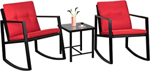 Flamaker 3 Pieces Patio Furniture Set Rocking Wicker Bistro Sets Modern Outdoor Rocking Chair Furniture Sets Clearance Cushioned PE Rattan Chairs Conversation Sets with Coffee Table (Red)