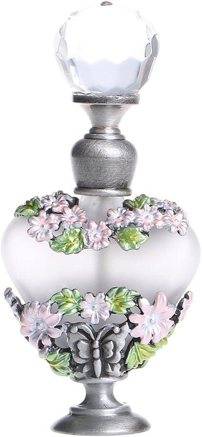 H&D - Botella recargable para perfume, 8ml, en soporte de metal, con diseño de flores