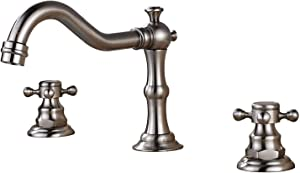 Votamuta Faucet Three Holes Double Handles Widespread Bathroom Sink Faucet