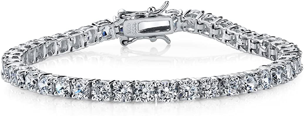 Large Open Circle Geometric Tennis Bracelet 925 Sterling Silver Women CZ Crystal Delicate Minimalist Custom Bridal Jewelry