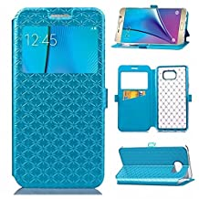 YHUISEN Solid Color Smart Window View PU Leather Wallet Flip Folio Cover Case With Stand/Card Slot For Samsung Galaxy Note 5 ( Color : Blue )