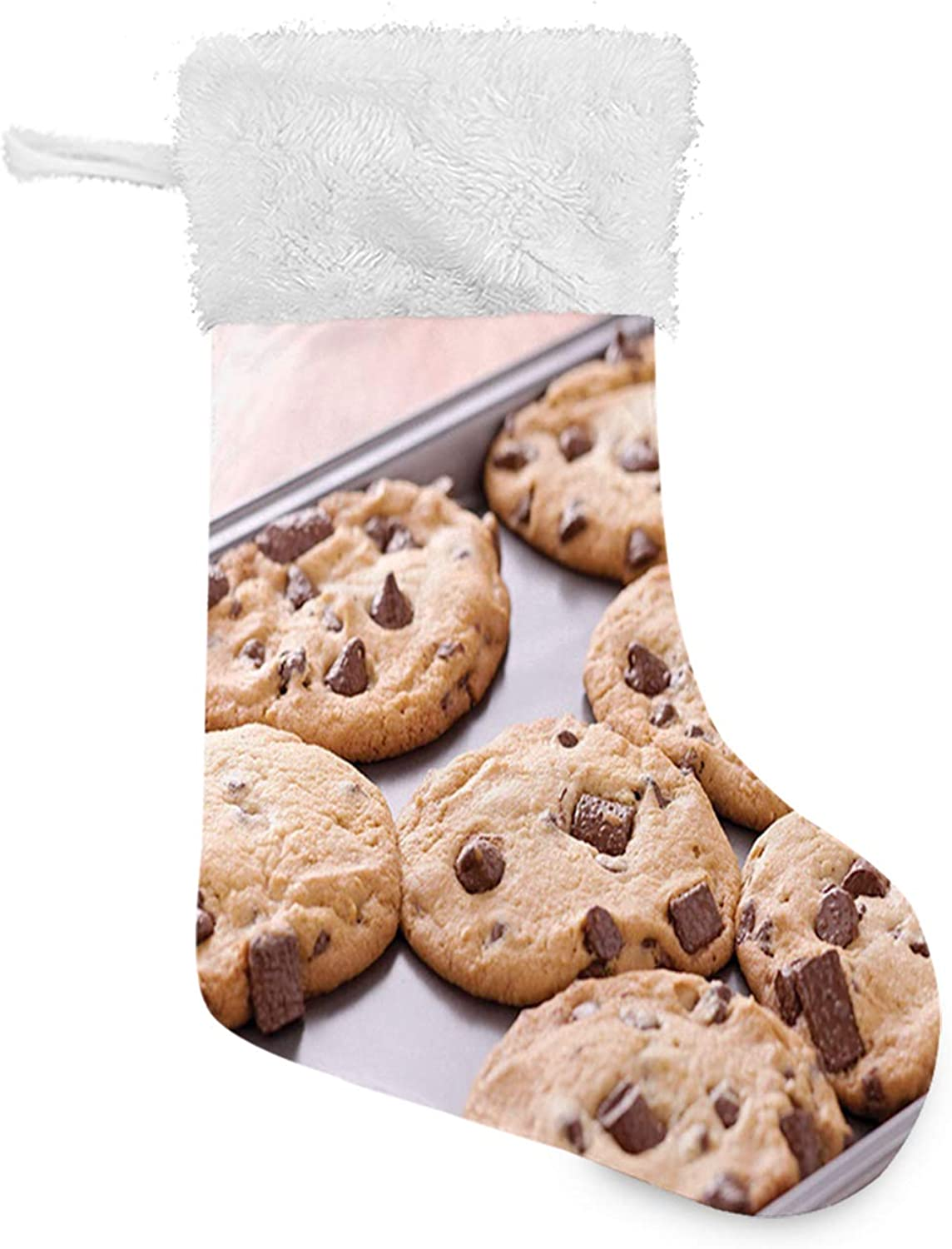 1 Pairs Christmas Socks Chocolate Chip Snacks on a Tray Baking Themed Food Photography Dessert Time Concept Christmas Cartoon Novelty Cotton Soft Cute Holiday Crew Socks for Women and Men