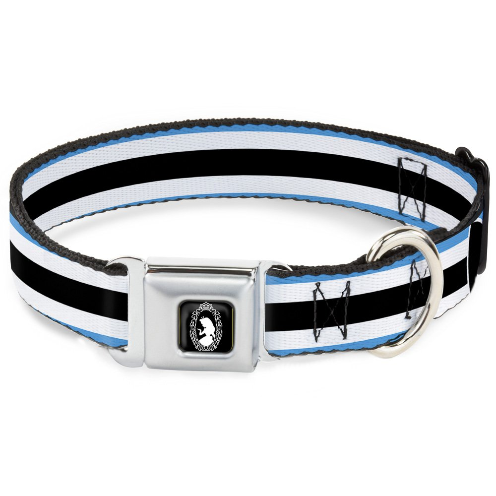 Buckle-Down DC-WDY228-L Seatbelt Buckle Dog Collar-Alice in Wonderland Stripe Bow Silhouette bluee Black White, 1  W-15-26  Neck-Large