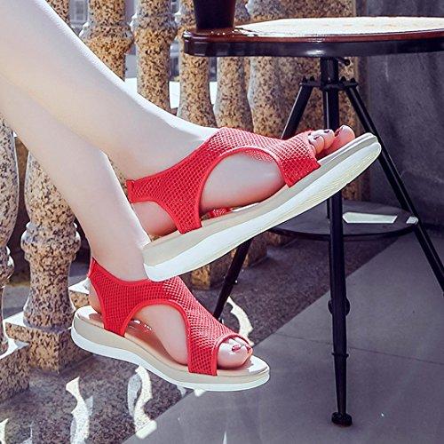 Plataforma de Zapatos Sandalias 2018 Pescado Zapatillas Verano Sandalias Rojo Vestir PAOLIAN para Senderismo Deporte Boca Toe Open Antideslizante Suela de Mujer de de de Romano Blanda Playa YZxq6