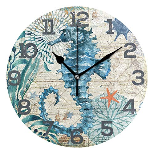 (CENHOME Custom Wall Clock Starfish Sea Horse Jellyfish Home Decor Round Acrylic Clock Large Numbers Silent Non-Ticking Battery Operated Decorative Room Painting Clock 9.45in)