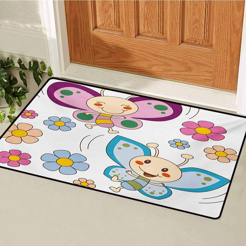 GUUVOR Nursery Universal Door mat Lilac and Blue Baby Kid Butterflies Flying Between Spring Flowers Cheerful Nature Door mat Floor Decoration W31.5 x L47.2 Inch Multicolor
