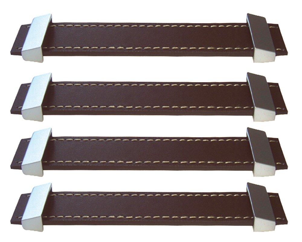 L'agape Set de Tiradores para Muebles, Cajones, Clásico, Piel, Marrón, 3x3x3 cm, 4 Unidades L' Agape REGLA12 X4