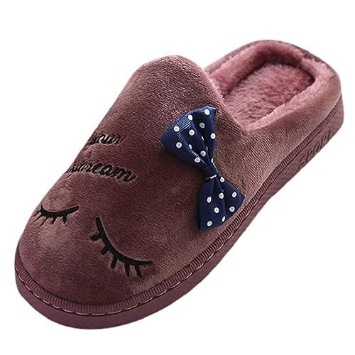 QUICKLYLY Zapatillas Casa Mujer Invierno Navidad/Abiertas,Zapatos Mujer Otoño/Invierno 2018,Térmicas Pantuflas Pareja Calzado Fieltro Algodón Antideslizante ...