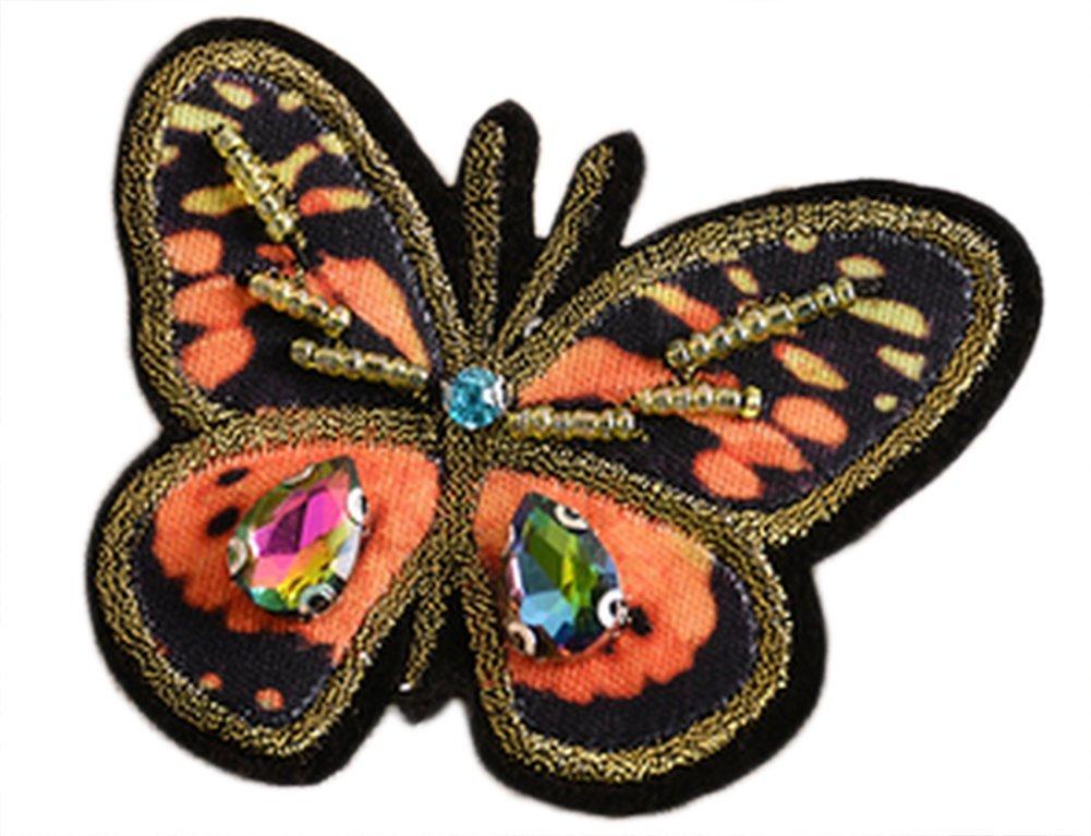 Hosaire Ecusson-bestickt Patch prickelt Beading Diamant Schmetterling Orange Modell selbstklebend Stoff für Vetement Jeans Jacke Kinder Damen Herren