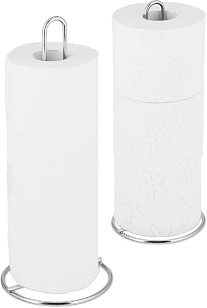 Porta Rollo Papel Relaxdays Set de 2 Portarrollos de Cocina Blanco Soporte Dispensador WC 32 x 13 cm Metal
